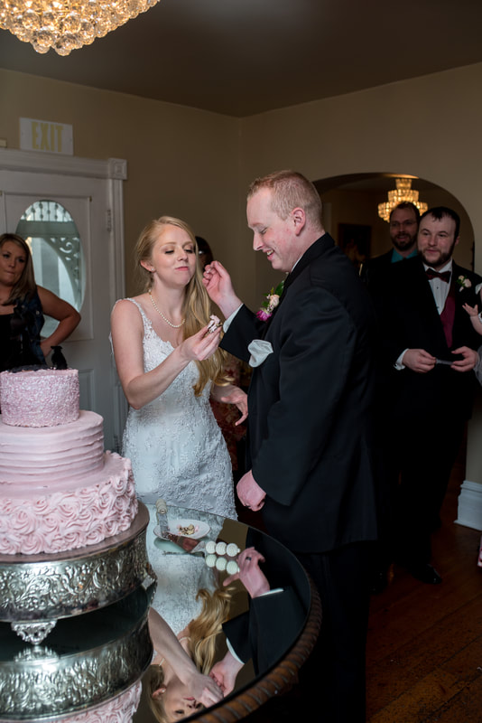 Cake cutting Traditional wedding and ceremony at Layton, Utah Chantilly Mansion with Flying Gull Photography